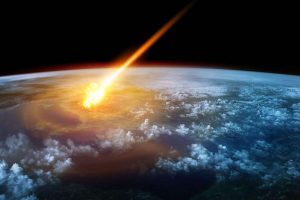 meteor hitting Earth's atmosphere from space